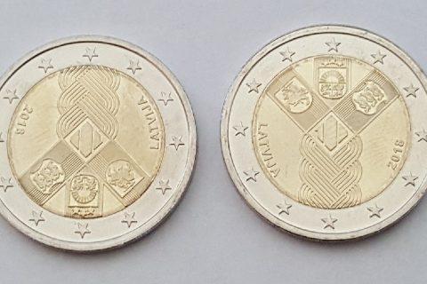 """Kolekcijas papildināšana- Latvijas 2 eiro piemiņas monēta """"Baltijas valstīm 100""""."""