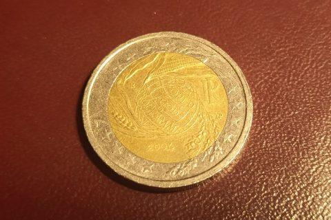 """Kolekcijas papildināšana- Itālijas 2 eiro piemiņas monēta """"Pasaules pārtikas programmas piektā dekāde""""."""